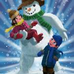 """Children and Snowman playing together"" by martindavey"