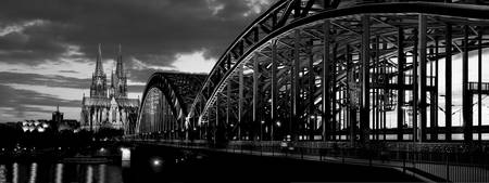 Hohenzollern Bridge, Cologne, Germany, B&W