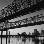 """Crescent City Connection, New Orleans, B&W"" by IK_Stores"
