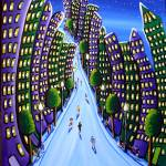 """Emerald and Purple City"" by reniebritenbucher"