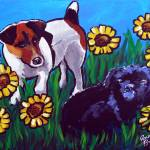 """Jack Russell and Friend in Sunflowers"" by reniebritenbucher"