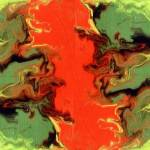 """""""Fluid painting in green and orange"""" by LizMoran"""