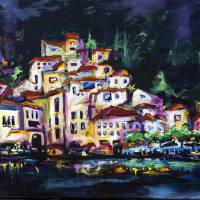 """Cityscape Amalfi at Night Italy"" by Ginette Callaway"