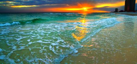 Panoramic Orange Seascape Sunset Beach Art Prints