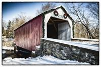 Covered Bridge Over the Swamp Creek in Winter