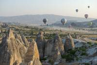 Hot air ballons and Cappadocian landscape