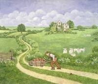 The Apple-barrow: Joseph Poorgrass wheeling a barr