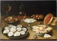 Still life with oysters, sweetmeats and roasted ch