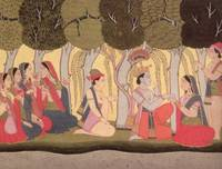Radha and Krishna seated in a grove, Kulu, 1790-18