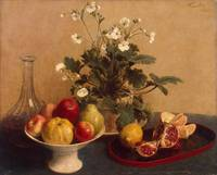 Flowers, dish with fruit and carafe, 1865
