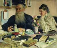 Leo Tolstoy with his wife in Yasnaya Polyana, 1907