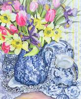 Daffodils, Tulips and Irises with Blue Antique Pot