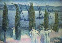 Coastal View with Cypress Trees, 1896