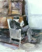 Old man sitting in an armchair