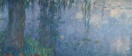 Waterlilies: Morning with Weeping Willows, detail