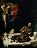 St. Francis comforted by an Angel Musician