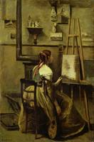 The Studio of Corot, or Young woman seated before