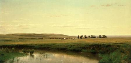 A Wagon Train on the Plains