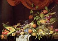 A Still Life of Fruit on a Draped Ledge