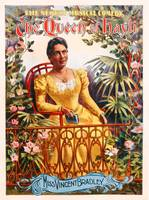 Poster advertising the musical comedy 'The Queen