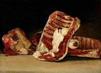 Still life of Sheep's Ribs and Head - The Butcher