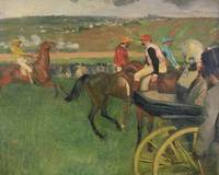 The Race Course Amateur Jockeys near a Carriage, c