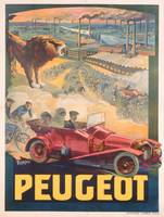 Advertisement for Peugeot, printed by Affiches Cam