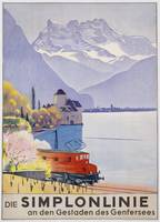 poster advertising rail travel around Lake Geneva