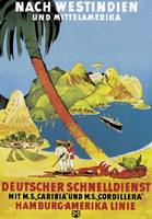 Poster advertising 'Hamburg-Amerika Linie' route