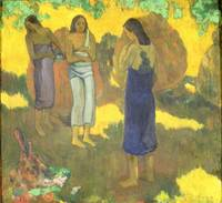 Three Tahitian Women against a Yellow Background,