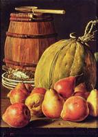 Still Life with pears, melon and barrel for marina