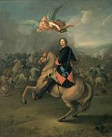 Portrait of Peter the Great against a background o