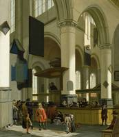 Interior of the Oude Kerk, Delft, with a preacher