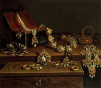 Casket of jewels on a table, principally of German