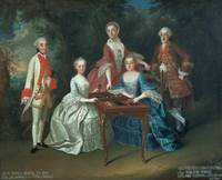 Group portrait of the Harrach family playing backg