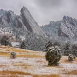"""Snow-Dusted-Flatiron-View-Boulder-Colorado"" by lightningman"