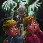 """Kids with Haunted Grandfather Clock Ghost"" by martindavey"