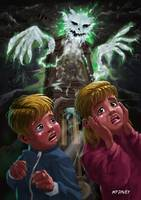 Kids with Haunted Grandfather Clock Ghost