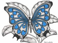 Curls#2 - Butterfly In Flight(Blue)