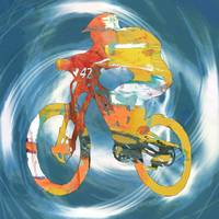Bike racing pop stylised paper cut art poster