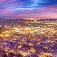 """Downtown Boulder Colorado City Lights Sunrise"" by James ""BO"" Insogna"