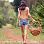 """Pretty Seminude Brunette Outdoors (1)"" by CSPmedia"