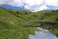 Crossing the Stream in Cressbrook Dale (34798-RDA)