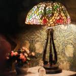 """Stained Glass Lamp and Vase of Flowers"" by susansartgallery"