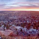 """Boulder Colorado Dawn City Lights Panorama"" by lightningman"
