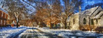harmony snow church street panoimpressionist