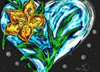 Tiger lilly made of glass heart poster edge