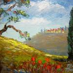 """Distant Tuscany Hillside Town"" by mazz"