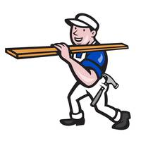 Carpenter Worker Carrying Timber Cartoon