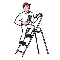 House Painter Standing on Ladder Cartoon